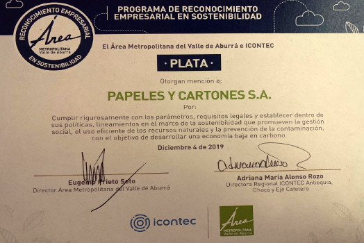 PAPELSA, CARTON COMPANY RECOGNIZED FOR ITS SUSTAINABILITY IN THE ABURRA VALLEY